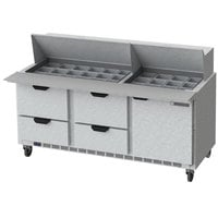Beverage-Air SPED72HC-30M-4 72 inch 1 Door 4 Drawer Mega Top Refrigerated Sandwich Prep Table