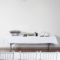 Intedge 54 inch x 114 inch Rectangular White Hemmed Polyspun Cloth Table Cover