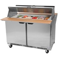 Beverage-Air SPE27HC-12M-B-DS Elite Series 27 inch 1 Door Mega Top Dual Sided Refrigerated Sandwich Prep Table