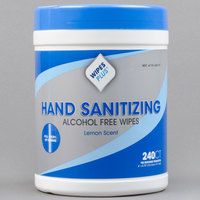 WipesPlus 240 Count Lemon Scent Alcohol Free Hand Sanitizing Wipes