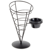 Tablecraft ACR59 Vertigo Round Black Appetizer Wire Cone Basket with 1 Ramekin - 5 inch x 9 inch
