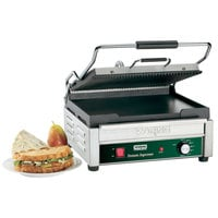 Waring WDG250 Grooved Top & Smooth Bottom Panini Sandwich Grill - 14 1/2 inch x 11 inch Cooking Surface - 120V, 1800W