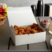 Customizable 9 inch x 5 inch x 3 inch White Take Out Lunch Box / Chicken Box - 250/Case