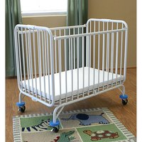 L.A. Baby 82 Folding Holiday Series Crib 24 inch x 38 inch with Fire Retardant Mattress