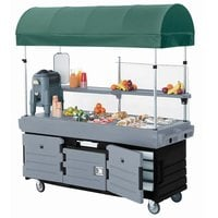Cambro KVC854C426 CamKiosk Black Base with Granite Gray Door Vending Cart with 4 Pan Wells and Canopy