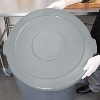 Continental 4445GY Huskee 44 Gallon Gray Round Trash Can Lid