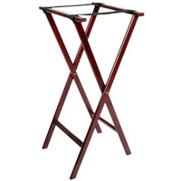 Lancaster Table & Seating 18 1/2 inch x 16 1/4 inch x 38 inch Folding Wood Tray Stand Mahogany