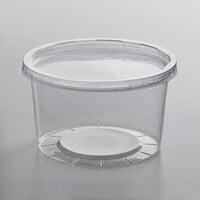 Choice 16 oz. Microwavable Contact Translucent Round Deli Container and Lid Combo Pack - 250/Case