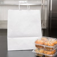 Duro Super Royal White Paper Shopping Bag with Handles 14 inch x 10 inch x 15 3/4 inch - 200/Bundle