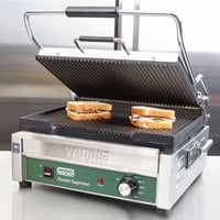 Waring WPG250B Panini Supremo Grooved Top & Bottom Panini Sandwich Grill - 14 1/2 inch x 11 inch Cooking Surface - 208V, 2808W