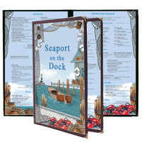 8 1/2 inch x 11 inch Menu Paper - Seafood Themed Port Design Middle Insert - 100/Pack