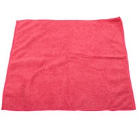Unger MC40R SmartColor MicroWipe 16 inch x 16 inch Red Light-Duty Microfiber Cleaning Cloth   - 10/Pack