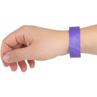 3/4 inch x 10 inch Purple Disposable Tyvek® Wristband - 1000/Box