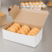 10 inch x 6 inch x 3 1/2 inch White Donut / Bakery Box - 10/Pack