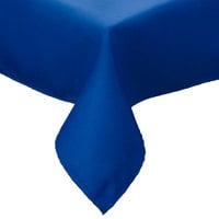 Intedge 54 inch x 96 inch Rectangular Royal Blue Hemmed Polyspun Cloth Table Cover