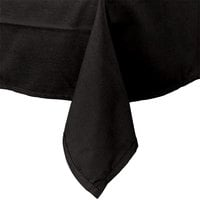 Intedge 54 inch x 114 inch Rectangular Black Hemmed Polyspun Cloth Table Cover