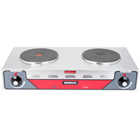 Nemco 6310-2 Electric Countertop Horizontal Hot Plate with 2 Solid Burners - 240V