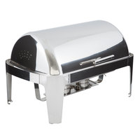 Choice Supreme 8 Qt. Full Size Chrome Accent Roll Top Chafer