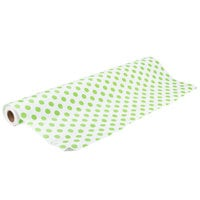40 inch x 100' Paper Table Cover with Green Polka Dots