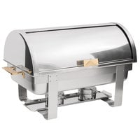 Choice Deluxe 8 Qt. Full Size Gold Accent Roll Top Chafer
