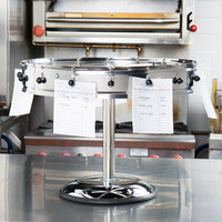 Carlisle 3816MP 18 inch Stainless Steel 16 Clip with Pedestal Base Portable Order Wheel Ticket Holder