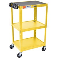 Luxor AVJ42-YW Yellow 3 Shelf A/V Utility Cart 24 inch x 18 inch - Adjustable Height