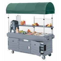 Cambro KVC854C191 CamKiosk Granite Gray Vending Cart with 4 Pan Wells and Canopy