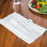 Choice White Medium Weight Wrapped Plastic Cutlery Pack with Napkin and Salt / Pepper Packets - 500/Case