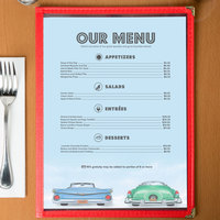 8 1/2 inch x 11 inch Menu Paper - Retro Themed Car Design Middle Insert - 100/Pack