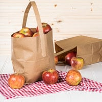 1/2 Peck Sophomore Natural Brown Kraft Paper Produce Customizable Market Stand Bag with Handle - 500/Case