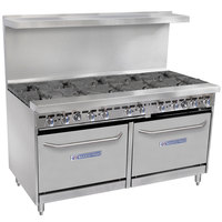 Bakers Pride Restaurant Series 60-BP-10B-S26 Natural Gas 10 Burner Range with Two Standard 26 inch Ovens