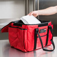 Rubbermaid FG9F4000RED ProServe Insulated Sandwich Delivery Bag Red Nylon 15 inch x 12 inch x 12 inch