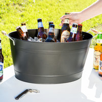 19 inch x 14 inch x 9 5/16 inch Oval Beverage Tub with Wooden Handles