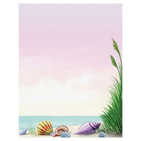 8 1/2 inch x 11 inch Menu Paper - Seafood Themed Coral Design Right Insert - 100/Pack
