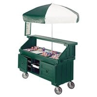 Cambro CVC724519 Camcruiser Green Vending Cart with Umbrella and 4 Counter Wells