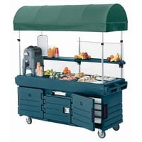 Cambro KVC856C192 CamKiosk Granite Green Vending Cart with 6 PanWells and Canopy