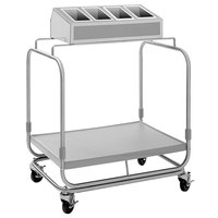 Delfield UTSP-1SS Tray and Silverware Cart with 4 Silverware Pans and Stainless Steel Tray Shelf