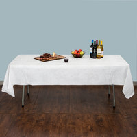 Hoffmaster 236410 50 inch x 108 inch Linen-Like White / Silver Patterned Table Cover - 24/Case