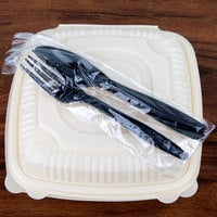 Visions Wrapped Black Heavy Weight Plastic Cutlery Pack with Knife, Fork, and Spoon - 500/Case