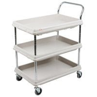 Metro BC2030-3DG Gray Utility Cart with Three Deep Ledge Shelves - 32 3/4 inch x 21 1/2 inch