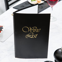 Menu Solutions L702A 5 1/2 inch x 8 1/2 inch Black Wine List Cover