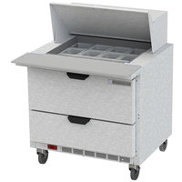 Beverage-Air SPED36HC-12M-2 36 inch 2 Drawer Mega Top Refrigerated Sandwich Prep Table