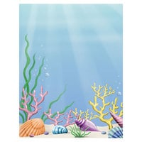 8 1/2 inch x 11 inch Menu Paper - Seafood Themed Coral Design Cover - 100/Pack