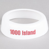 Tablecraft CM8 Imprinted White Plastic 1000 Island Salad Dressing Dispenser Collar with Maroon Lettering