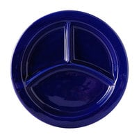 Tuxton BCA-0903 TuxCare Healthcare 9 inch Cobalt Three-Compartment China Plate   - 12/Case