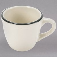 3.5 oz. Ivory Scalloped Edge China Cup with Black Band - 36/Case