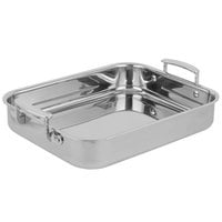 Vollrath 49435 Miramar Display 2.8 Qt. Tri-Ply Small Roasting Food Pan with Handles - 11 5/8 inch x 9 5/16 inch x 2 inch