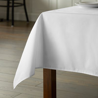 Intedge 64 inch x 110 inch Rectangular White Hemmed Poly Cotton Tablecloth