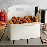 Customizable 9 1/2 inch x 5 inch x 5 inch White Barn Take Out Lunch Box / Chicken Box - 125/Case