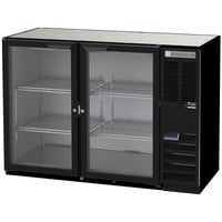 Beverage-Air B48HC-1-G-B 48 inch Black Back Bar Refrigerator with Two Glass Doors